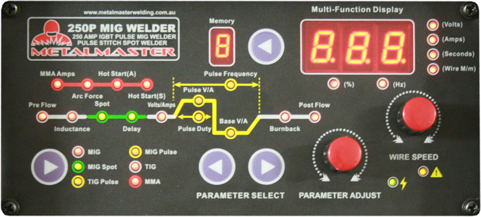 A close up inspection of the front panel of our metalmaster pulse mig welder model 250p