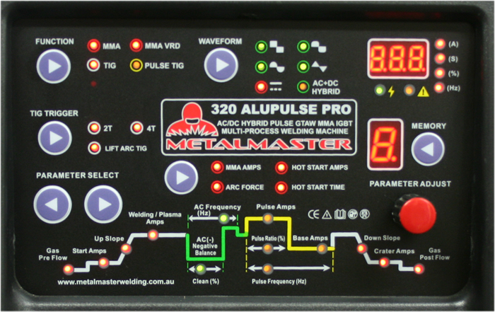 AC DC Pulse Tig Welder Metalmaster 320 control panel