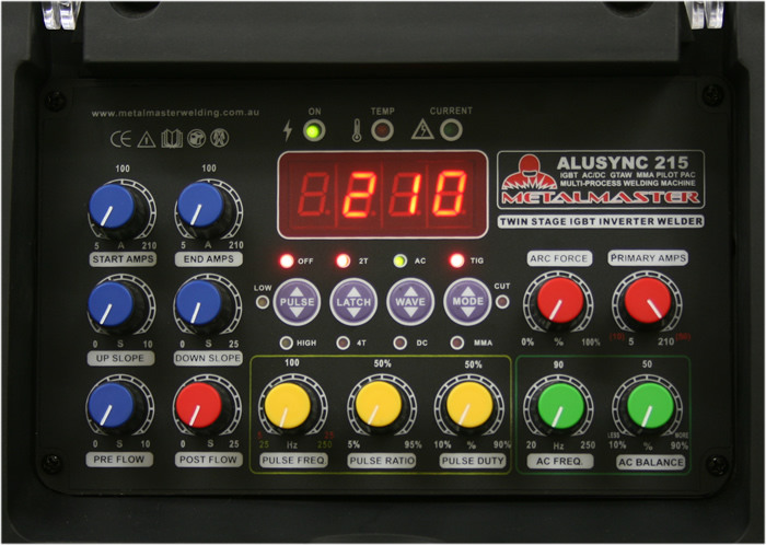 Alusync 215 ACDC Tig welder control panel for multi process features and plasma cutter integration