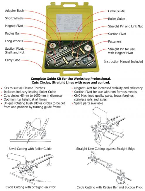 Plasma cutter circle cutting guide kit